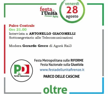 Sottosegretario Giacomelli alla Festa de L'Unità di Firenze