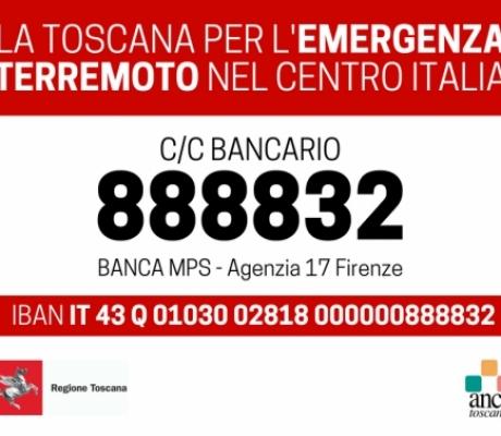 Terremoto, per le donazioni conto corrente unico in Toscana