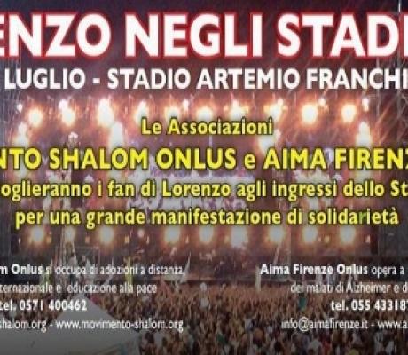 FIRENZE - Al concerto di Jovanotti solidarietà per l'Alzheimer, raccolta fondi AIMA